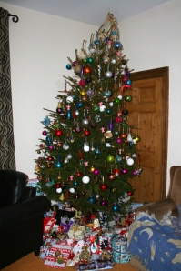 An eight foot tree can be tricky to decorate!