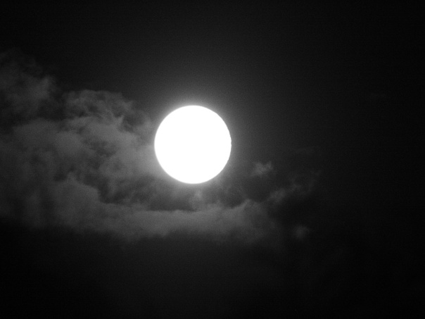Full moon with passing clouds